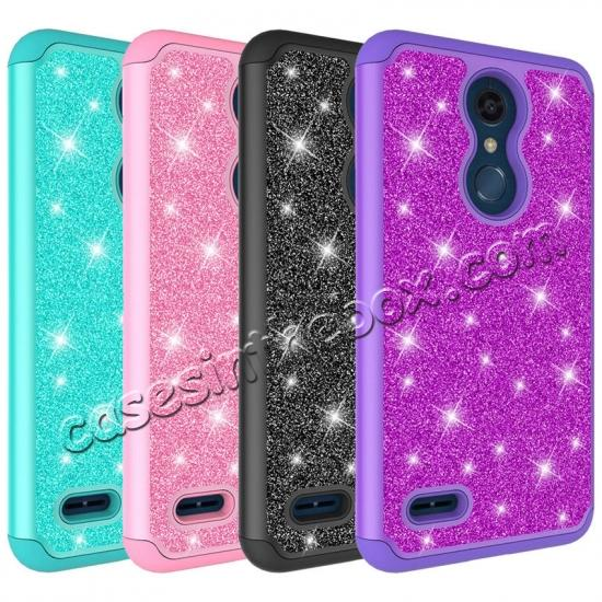 low price Cases For LG K30 / LG K10 2018 Shock Absorbing Glitter Bling Rubber Protective Case Cover - Purple