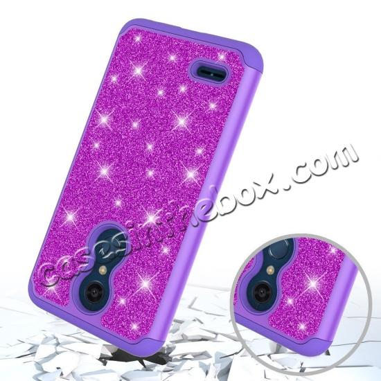 cheap Cases For LG K30 / LG K10 2018 Shock Absorbing Glitter Bling Rubber Protective Case Cover - Purple