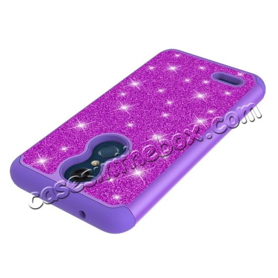 top quality Cases For LG K30 / LG K10 2018 Shock Absorbing Glitter Bling Rubber Protective Case Cover - Purple