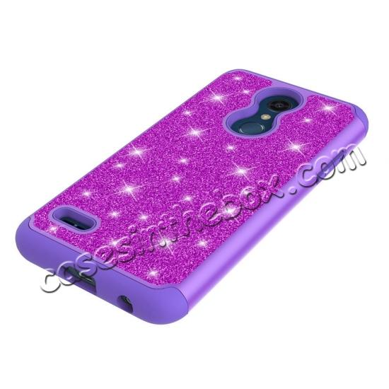 best price Cases For LG K30 / LG K10 2018 Shock Absorbing Glitter Bling Rubber Protective Case Cover - Purple