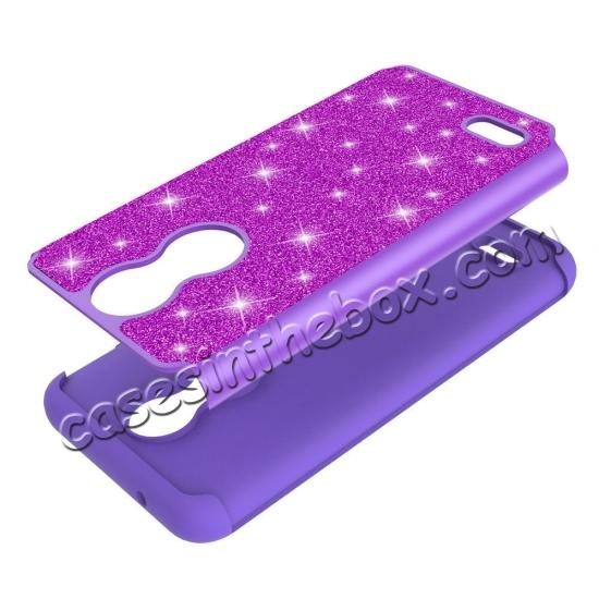 on sale Cases For LG K30 / LG K10 2018 Shock Absorbing Glitter Bling Rubber Protective Case Cover - Purple