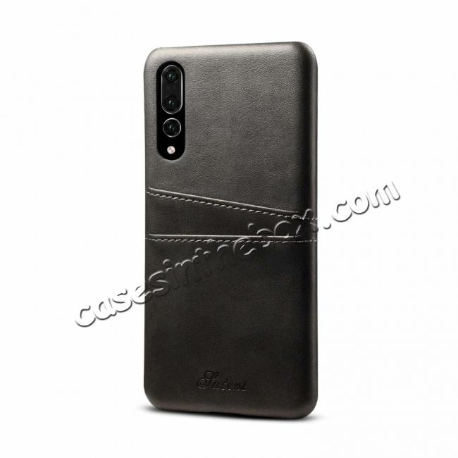 wholesale Cow Leather Case Wallet Card Holder Back Cover For Huawei P20 - Grey