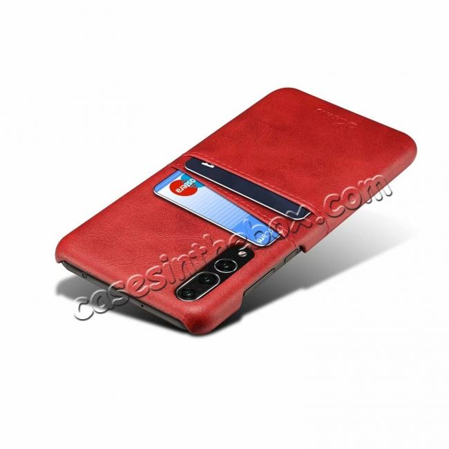 discount Cow Leather Case Wallet Card Holder Back Cover For Huawei P20 - Red