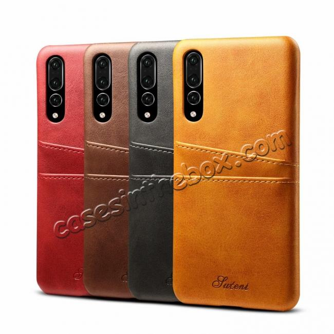 top quality Cow Leather Case Wallet Card Holder Back Cover For Huawei P20 - Red