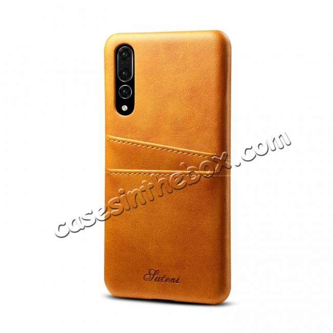 wholesale Cow Leather Wallet Card Holder Back Case Cover For Huawei P20 Pro - Light Brown
