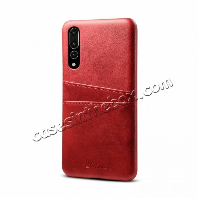wholesale Cow Leather Wallet Card Holder Back Case Cover For Huawei P20 Pro - Red