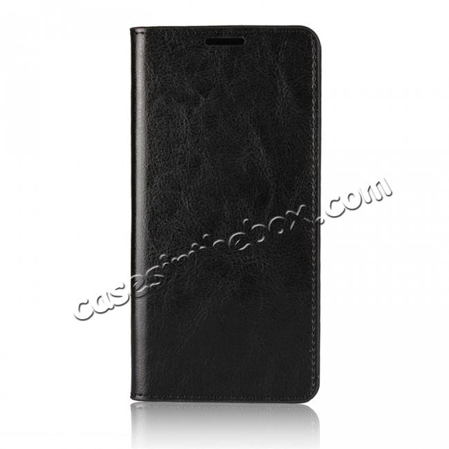 discount Crazy Horse Genuine Leather Case Flip Stand Card Slot for Huawei Mate 10 Pro - Black