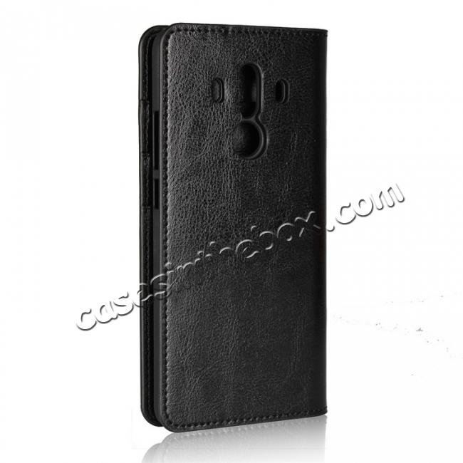 cheap Crazy Horse Genuine Leather Case Flip Stand Card Slot for Huawei Mate 10 Pro - Black