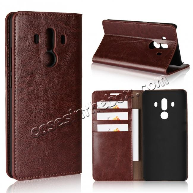 wholesale Crazy Horse Genuine Leather Case Flip Stand Card Slot for Huawei Mate 10 Pro - Coffee