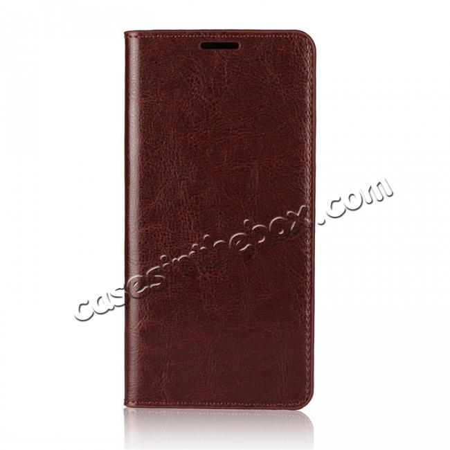discount Crazy Horse Genuine Leather Case Flip Stand Card Slot for Huawei Mate 10 Pro - Coffee