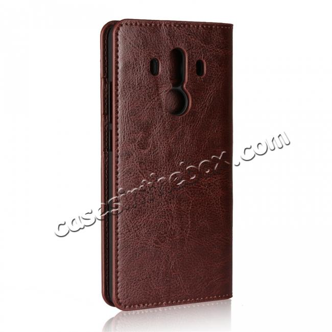 cheap Crazy Horse Genuine Leather Case Flip Stand Card Slot for Huawei Mate 10 Pro - Coffee
