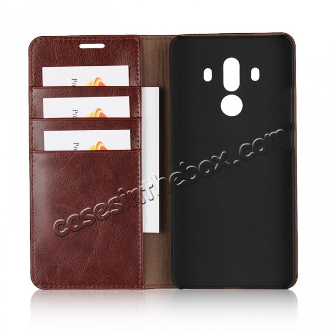 best price Crazy Horse Genuine Leather Case Flip Stand Card Slot for Huawei Mate 10 Pro - Coffee