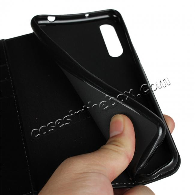 on sale Crazy Horse Genuine Leather Case Flip Stand Card Slot for Huawei P20 Pro - Black