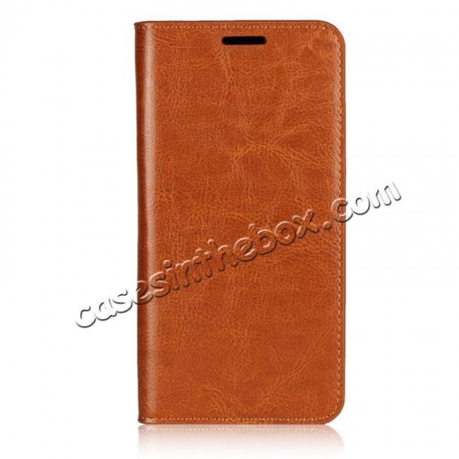discount Crazy Horse Genuine Leather Case Flip Stand Card Slot for Huawei P20 Pro - Brown