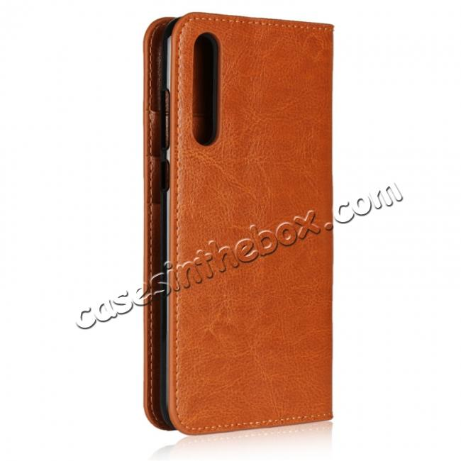 cheap Crazy Horse Genuine Leather Case Flip Stand Card Slot for Huawei P20 Pro - Brown