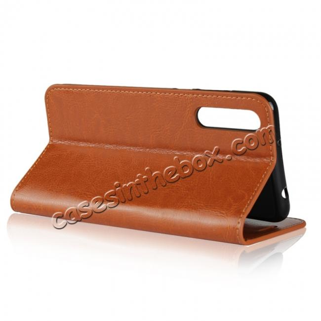 top quality Crazy Horse Genuine Leather Case Flip Stand Card Slot for Huawei P20 Pro - Brown