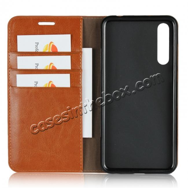 best price Crazy Horse Genuine Leather Case Flip Stand Card Slot for Huawei P20 Pro - Brown