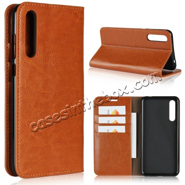 wholesale Crazy Horse Genuine Leather Case Flip Stand Card Slot for Huawei P20 Pro - Brown
