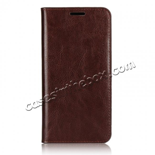 discount Crazy Horse Genuine Leather Case Flip Stand Card Slot for Huawei P20 Pro - Coffee