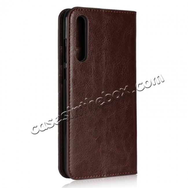 cheap Crazy Horse Genuine Leather Case Flip Stand Card Slot for Huawei P20 Pro - Coffee