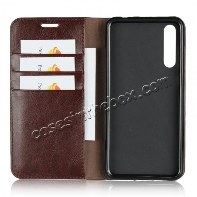 best price Crazy Horse Genuine Leather Case Flip Stand Card Slot for Huawei P20 Pro - Coffee
