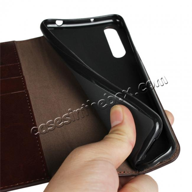 on sale Crazy Horse Genuine Leather Case Flip Stand Card Slot for Huawei P20 Pro - Coffee