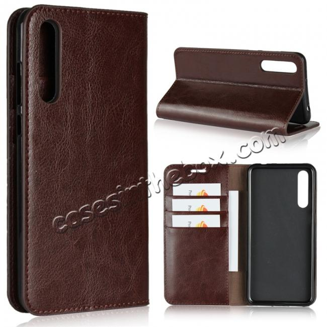 wholesale Crazy Horse Genuine Leather Case Flip Stand Card Slot for Huawei P20 Pro - Coffee