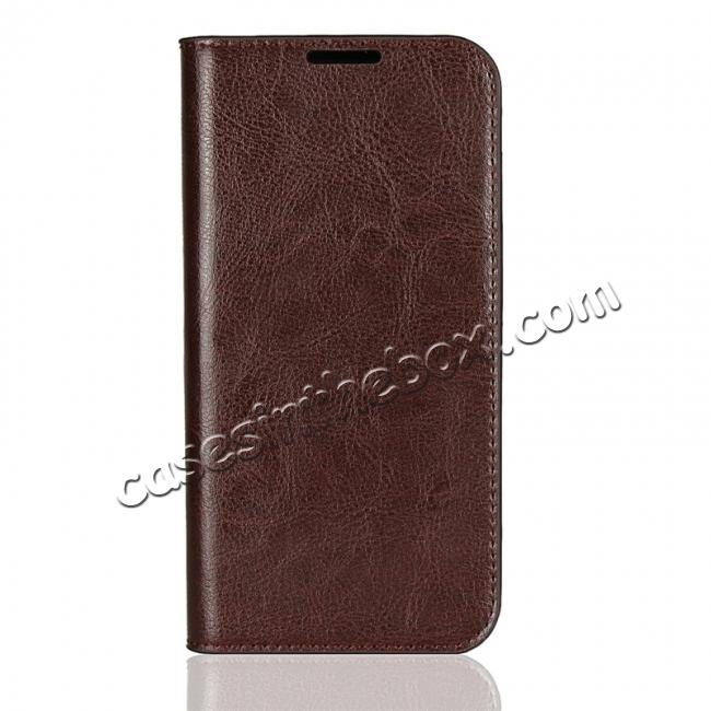 discount Crazy Horse Genuine Leather Flip Case Cover Stand with Card Slots for Motorola Moto G6 - Coffee