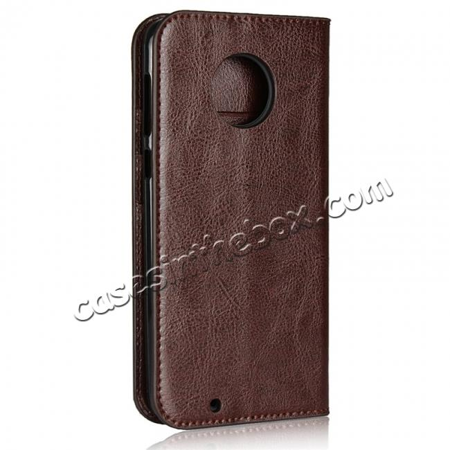 cheap Crazy Horse Genuine Leather Flip Case Cover Stand with Card Slots for Motorola Moto G6 - Coffee