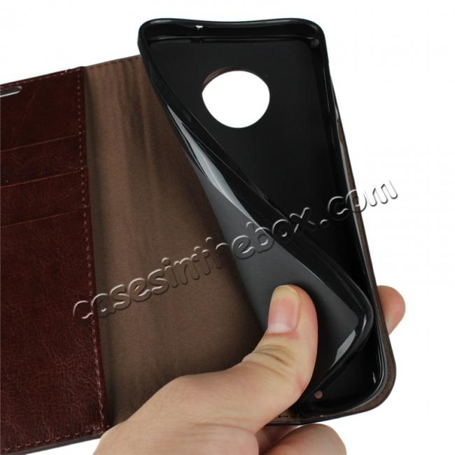 best price Crazy Horse Genuine Leather Flip Case Cover Stand with Card Slots for Motorola Moto G6 - Coffee