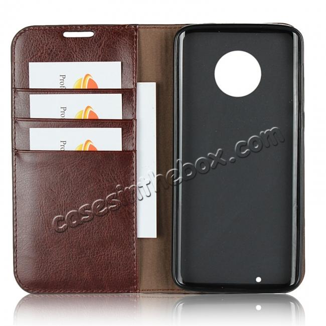 on sale Crazy Horse Genuine Leather Flip Case Cover Stand with Card Slots for Motorola Moto G6 - Coffee