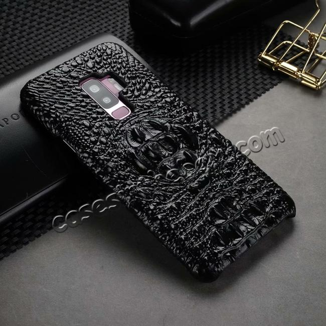 cheap Crocodile Head Genuine Leather Back Cover Case for Samsung Galaxy S9 Plus - Black