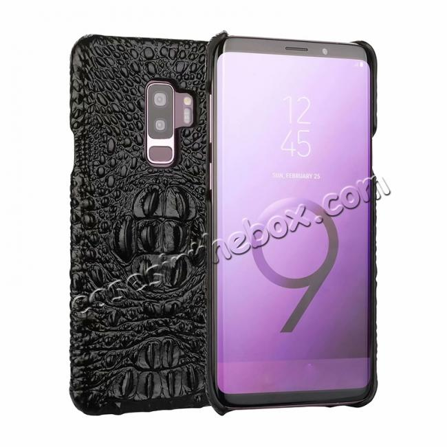 wholesale Crocodile Head Genuine Leather Back Cover Case for Samsung Galaxy S9 Plus - Black