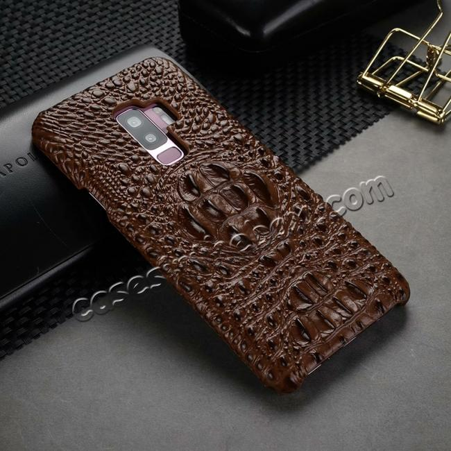 cheap Crocodile Head Genuine Leather Back Cover Case for Samsung Galaxy S9 Plus - Brown