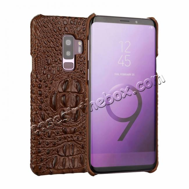 wholesale Crocodile Head Genuine Leather Back Cover Case for Samsung Galaxy S9 Plus - Brown