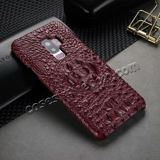 cheap Crocodile Head Genuine Leather Back Cover Case for Samsung Galaxy S9 Plus - Wine Red