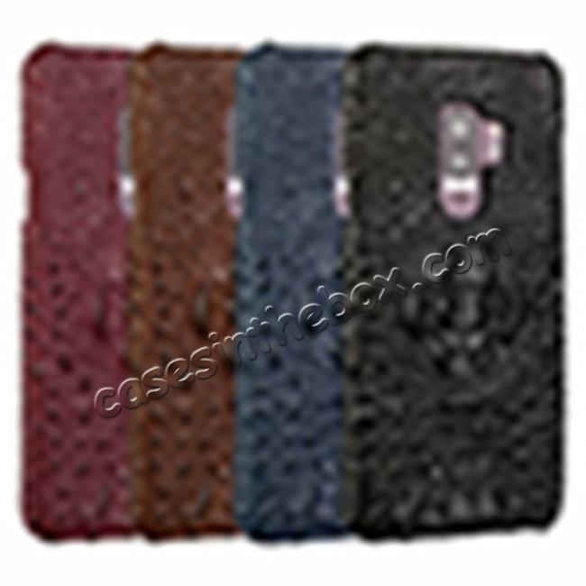 top quality Crocodile Head Genuine Leather Back Cover Case for Samsung Galaxy S9 Plus - Wine Red