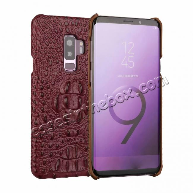 wholesale Crocodile Head Genuine Leather Back Cover Case for Samsung Galaxy S9 Plus - Wine Red