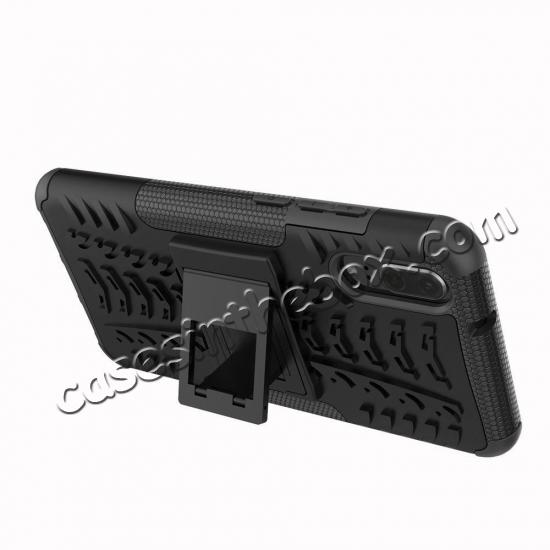top quality For Huawei P20 Hybrid Armor Shockproof Rugged Bumper Stand Case Cover - Black