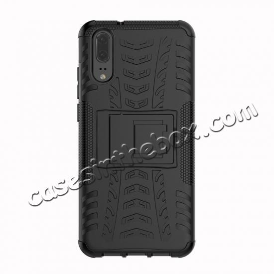 discount For Huawei P20 Hybrid Armor Shockproof Rugged Bumper Stand Case Cover - Black