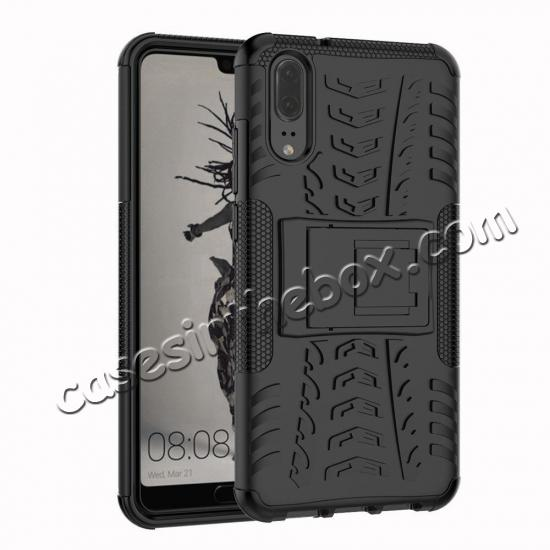 wholesale For Huawei P20 Hybrid Armor Shockproof Rugged Bumper Stand Case Cover - Black