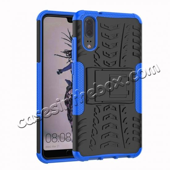 wholesale For Huawei P20 Hybrid Armor Shockproof Rugged Bumper Stand Case Cover - Blue