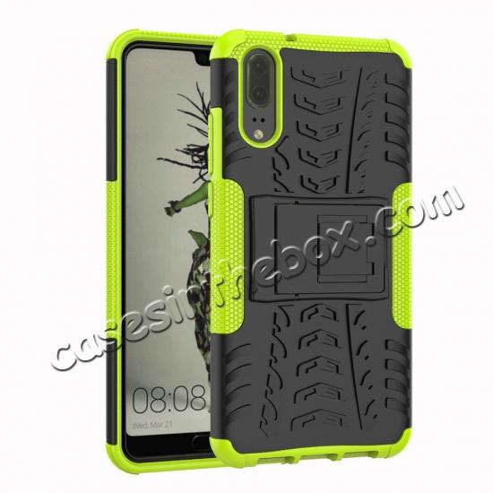 wholesale For Huawei P20 Hybrid Armor Shockproof Rugged Bumper Stand Case Cover - Green