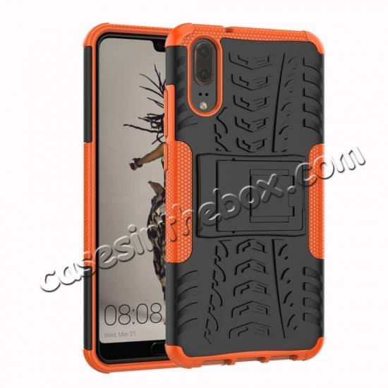 wholesale For Huawei P20 Hybrid Armor Shockproof Rugged Bumper Stand Case Cover - Orange