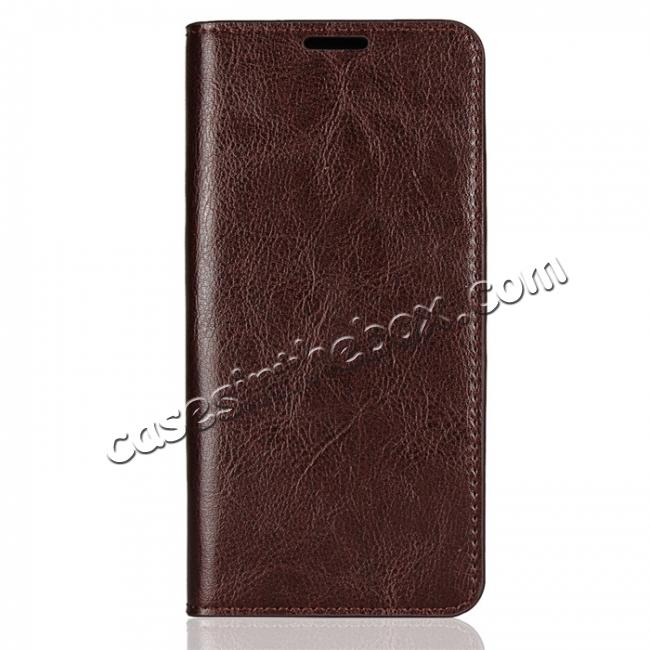 discount For LG G7 Crazy Horse Genuine Leather Case Flip Stand Card Slot - Coffee