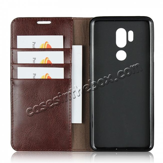 best price For LG G7 Crazy Horse Genuine Leather Case Flip Stand Card Slot - Coffee