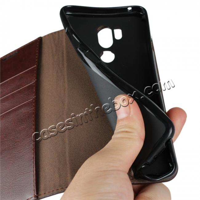 on sale For LG G7 Crazy Horse Genuine Leather Case Flip Stand Card Slot - Coffee
