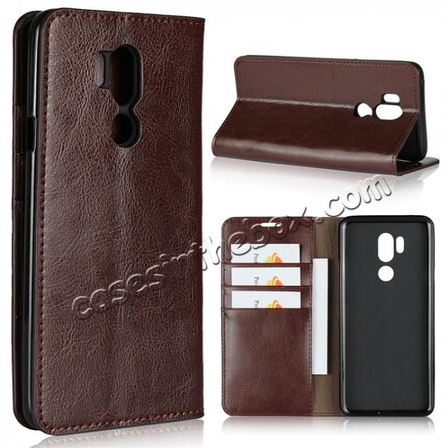 wholesale For LG G7 Crazy Horse Genuine Leather Case Flip Stand Card Slot - Coffee