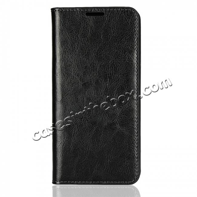 discount For LG G7 Crazy Horse Genuine Leather Case Flip Stand Card Slot - Black