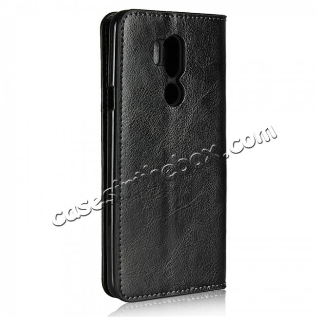cheap For LG G7 Crazy Horse Genuine Leather Case Flip Stand Card Slot - Black